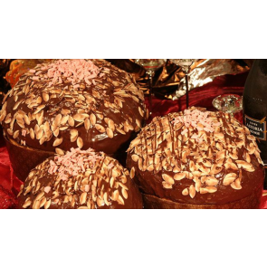 panettone ricoperto cioccolato e mandorle