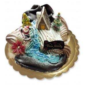 tronchetto decorato natale con casa e soggetti a tema